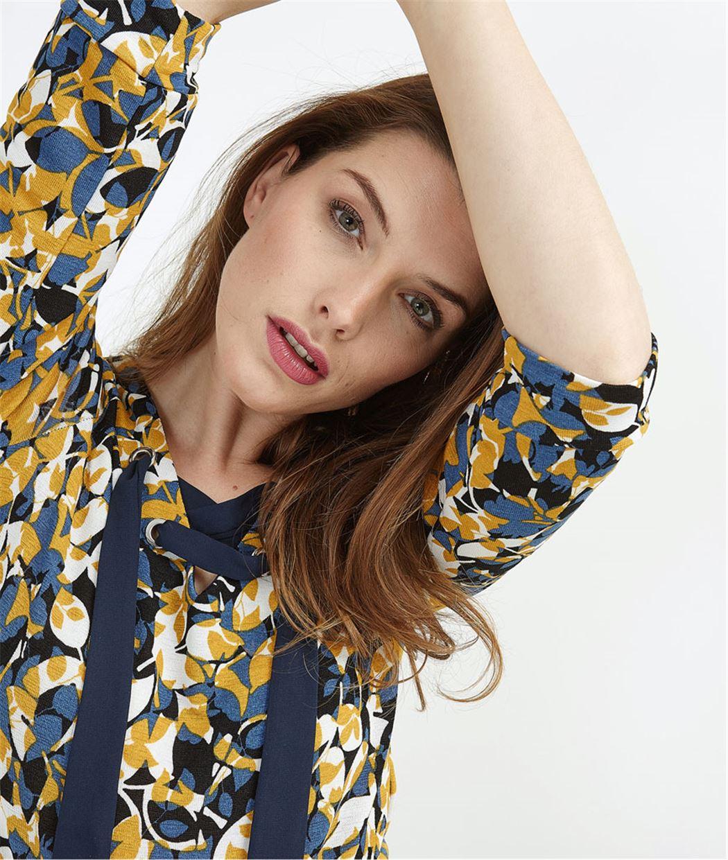 T-shirt femme imprimé avec ruban MARINE