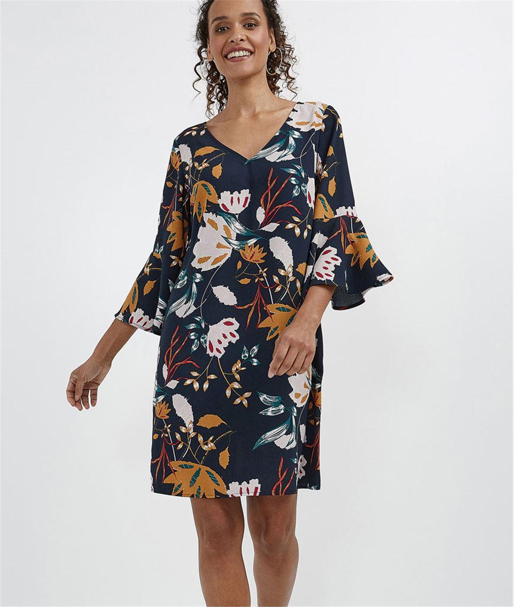 Robe femme imprimée manches volantées MARINE