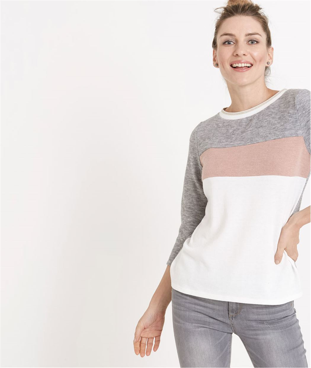 Pull femme fin esprit sweat color block GRIS