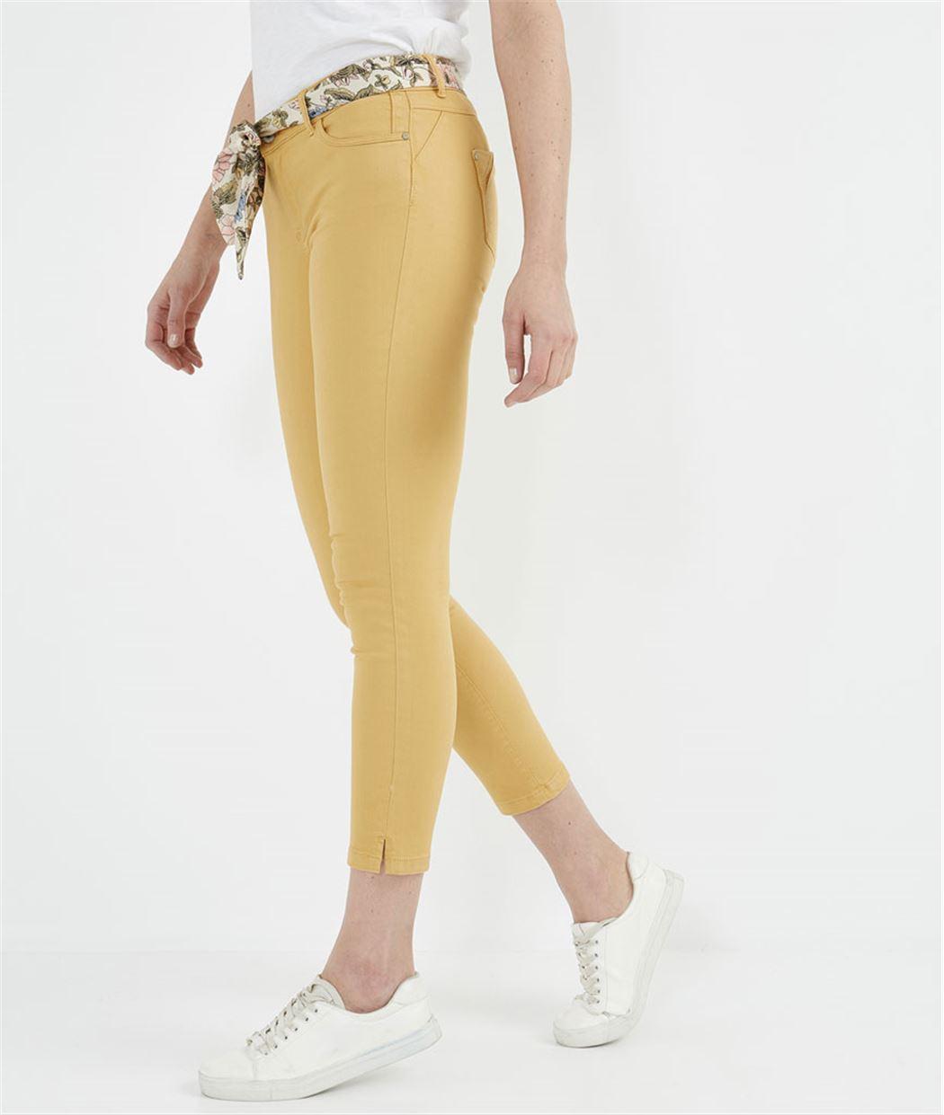 Pantalon 7/8ème de couleur avec ceinture MIEL