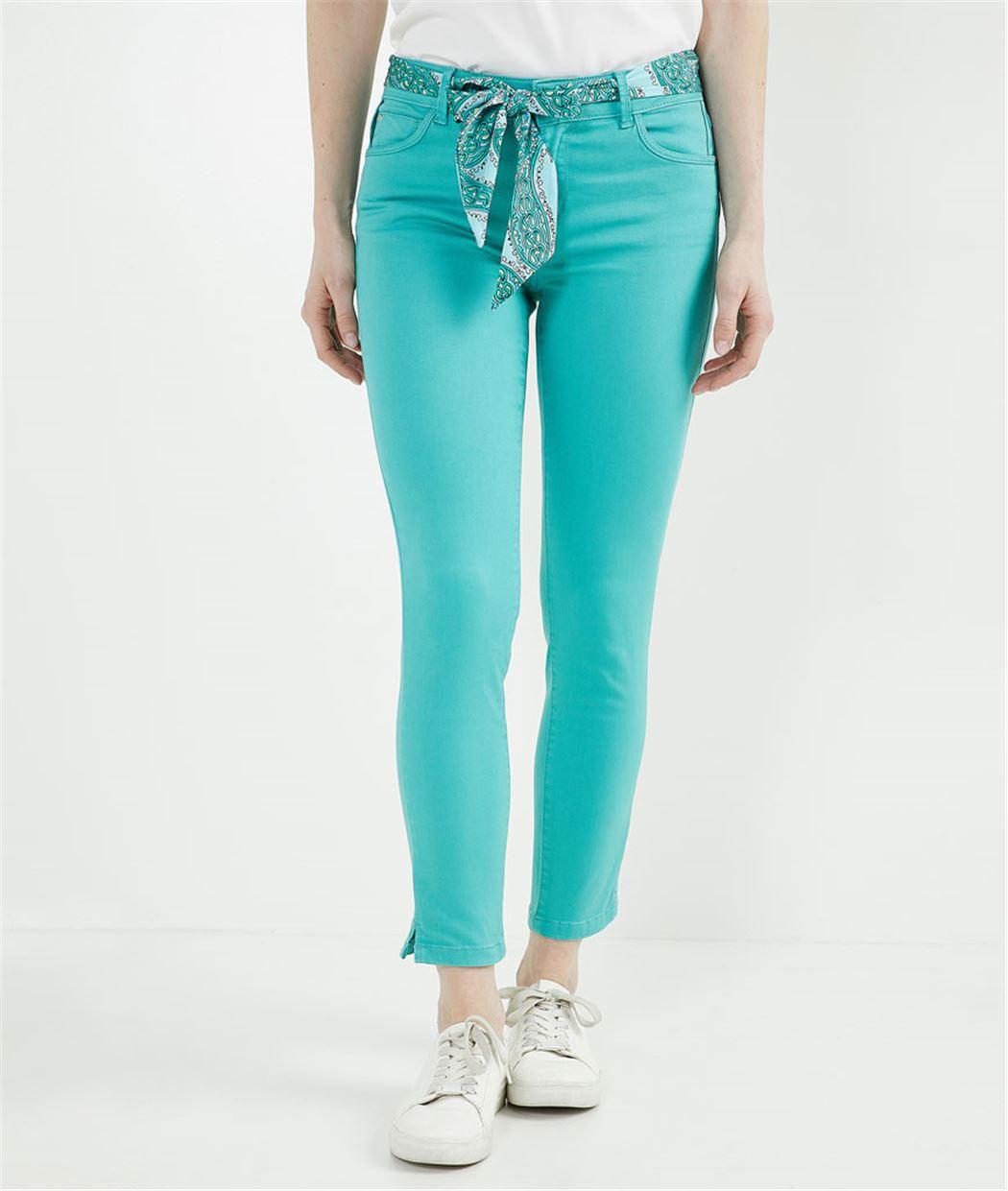 Pantalon 7/8ème de couleur avec ceinture MENTHE