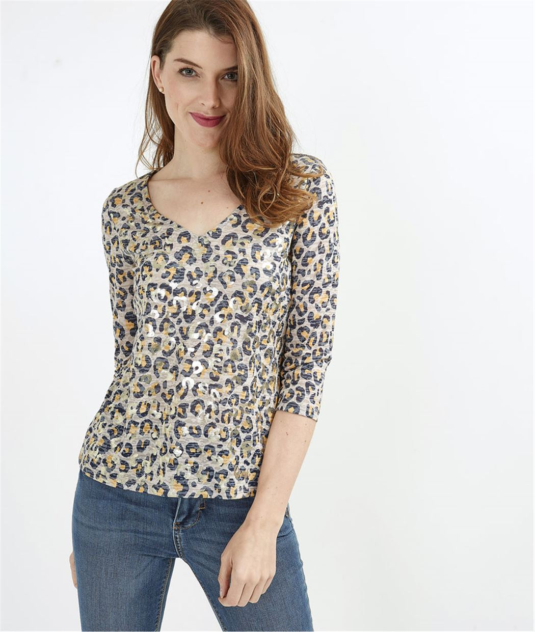 T-shirt femme léopard brillant BEIGE