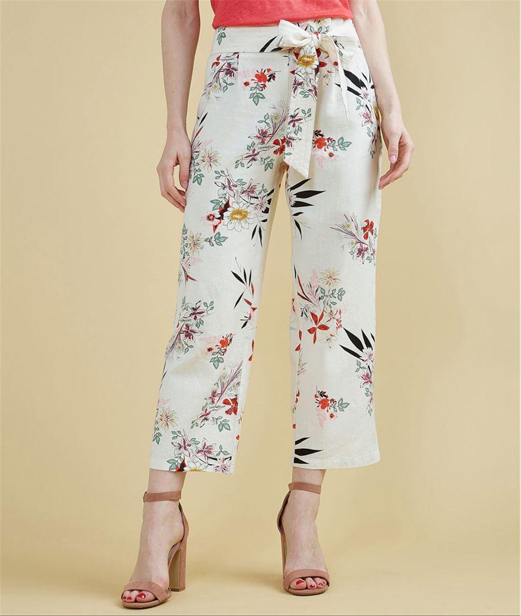 Pantalon en lin paper bag ECRU