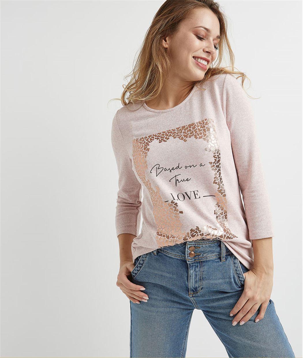 T-shirt femme avec print brillant ROSE