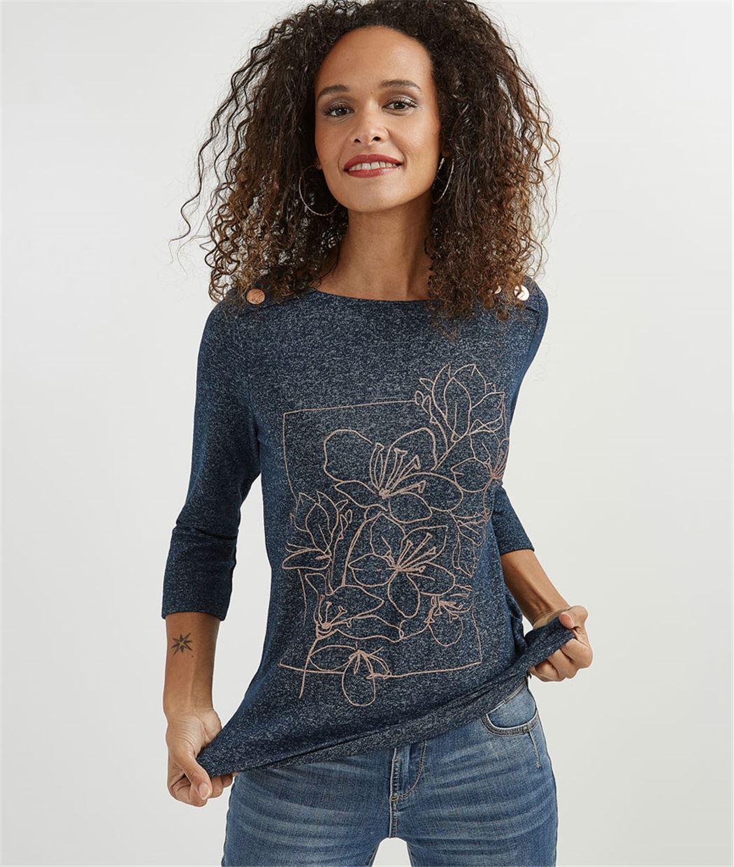 T-shirt femme motifs et boutons cuivrés MARINE