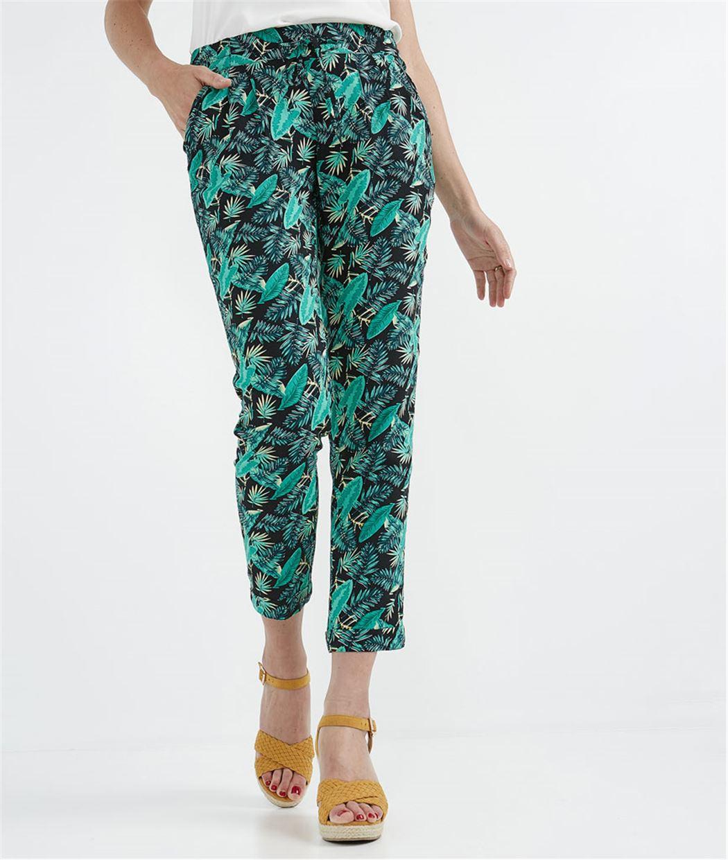 Pantalon femme fluide taille élastiquée MULTICOLORE