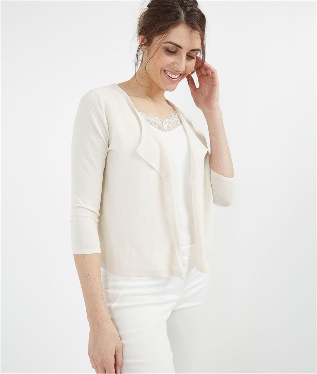 e2bef1f8fa97 Gilet femme basique en coton ECRU - Grain de Malice