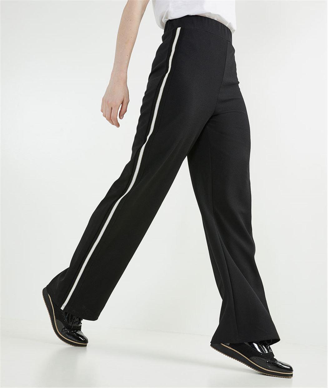 Pantalon large avec bandes côté NOIR