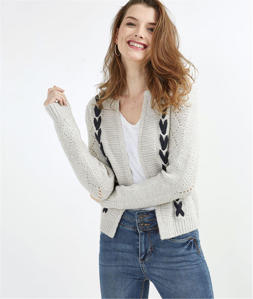 Gilet femme en tricot gris fantaisie GRIS
