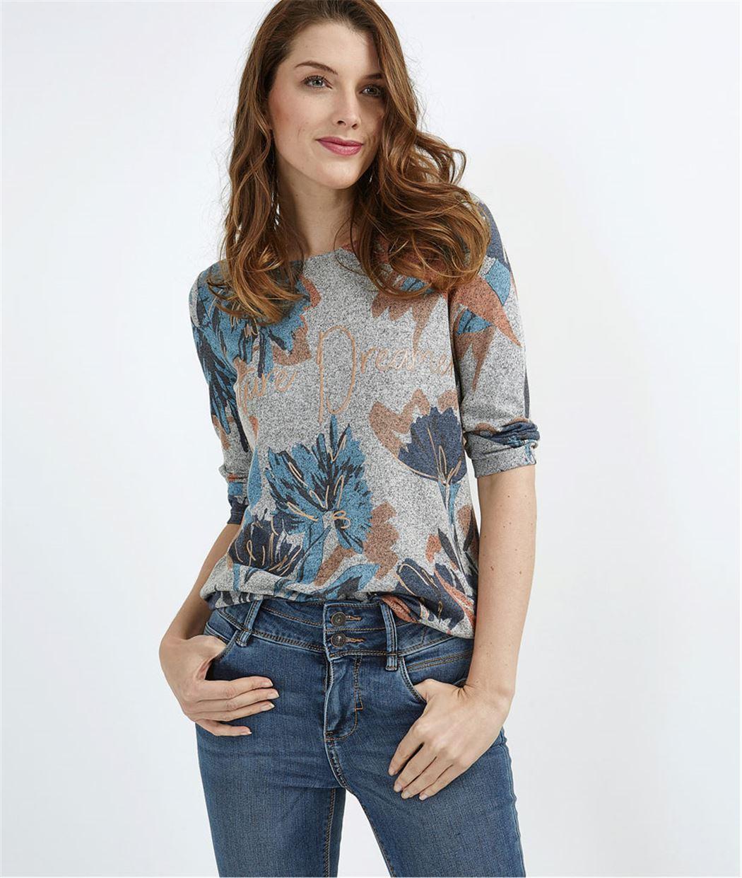 T-shirt gris imprimé fleurs GRIS