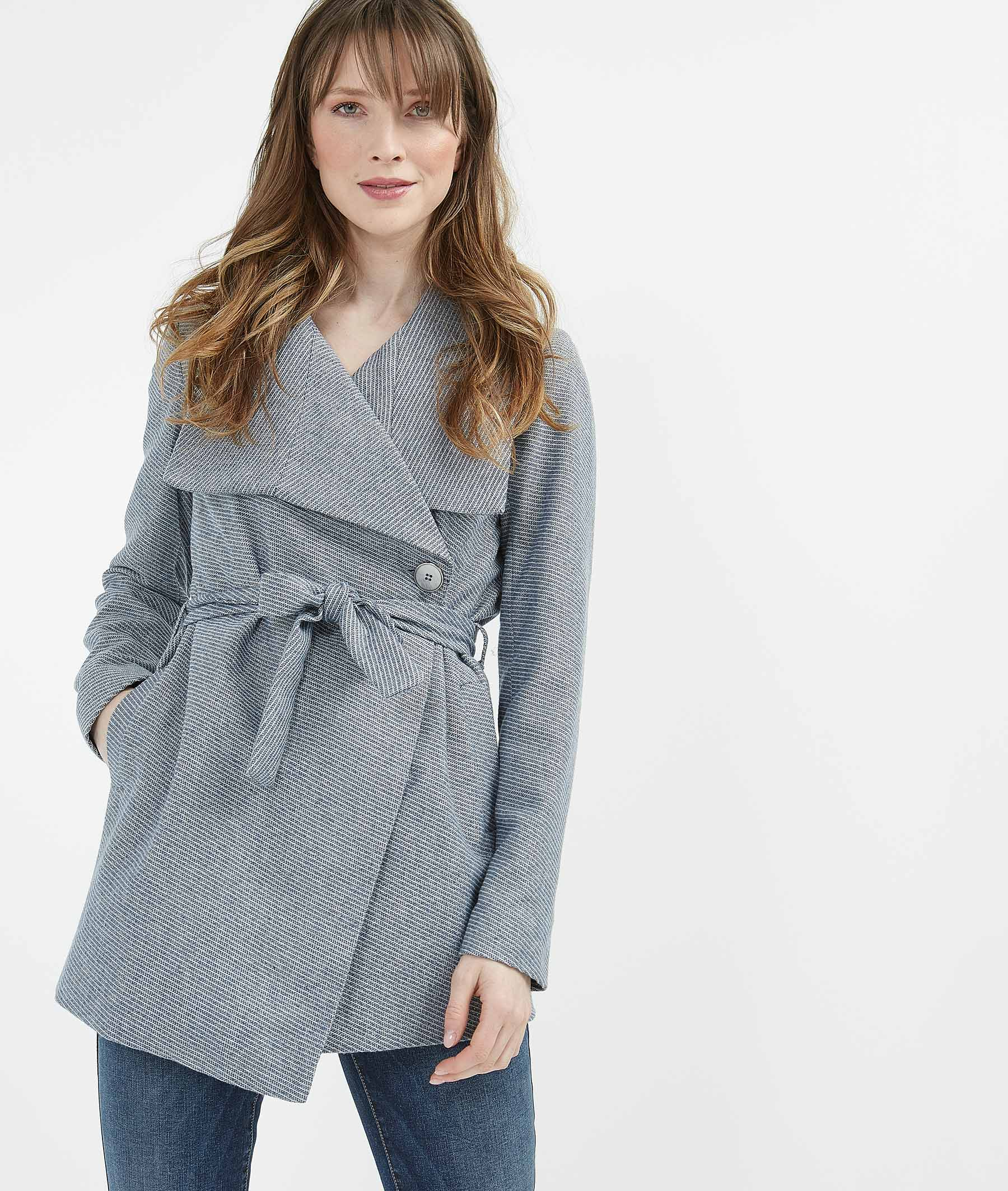 Manteau mi-saison avec ceinture BLEU