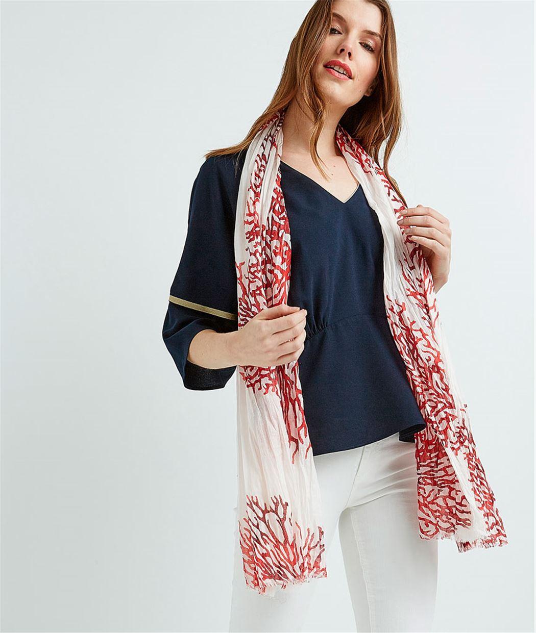 Foulard femme motif corail ROUGE