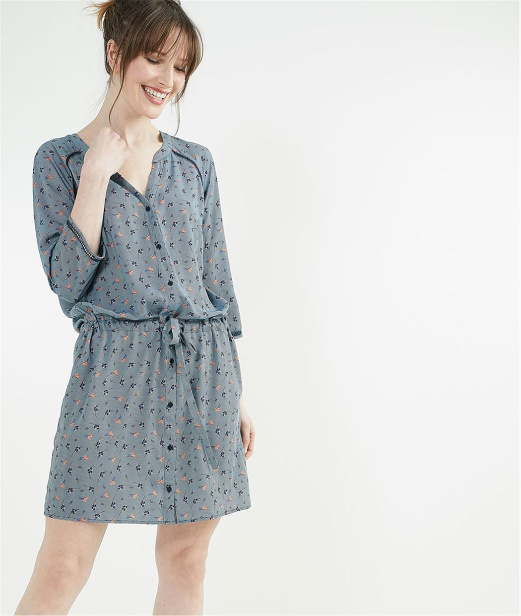 Robe chemise imprimée BLEU