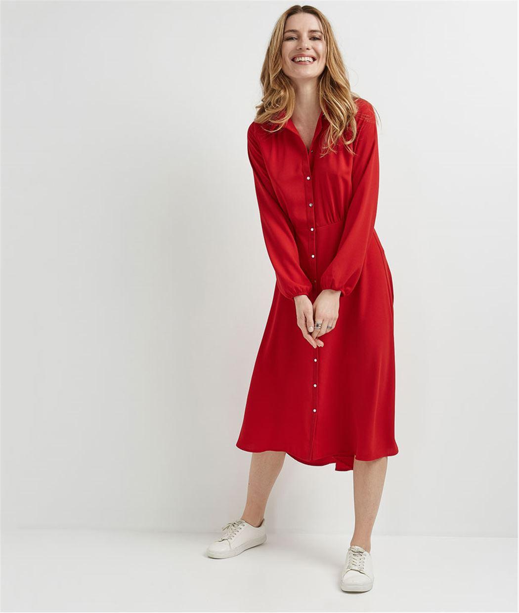 Robe chemise rouge longue ROUGE