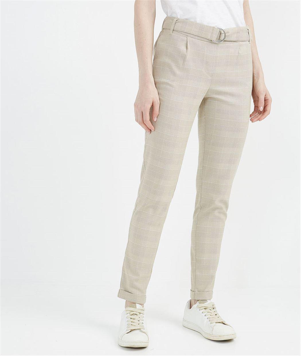 Pantalon femme à carreaux élastiqué BEIGE