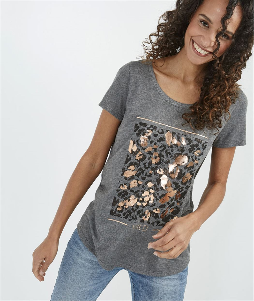 T-shirt femme avec imprimé brillant GRIS