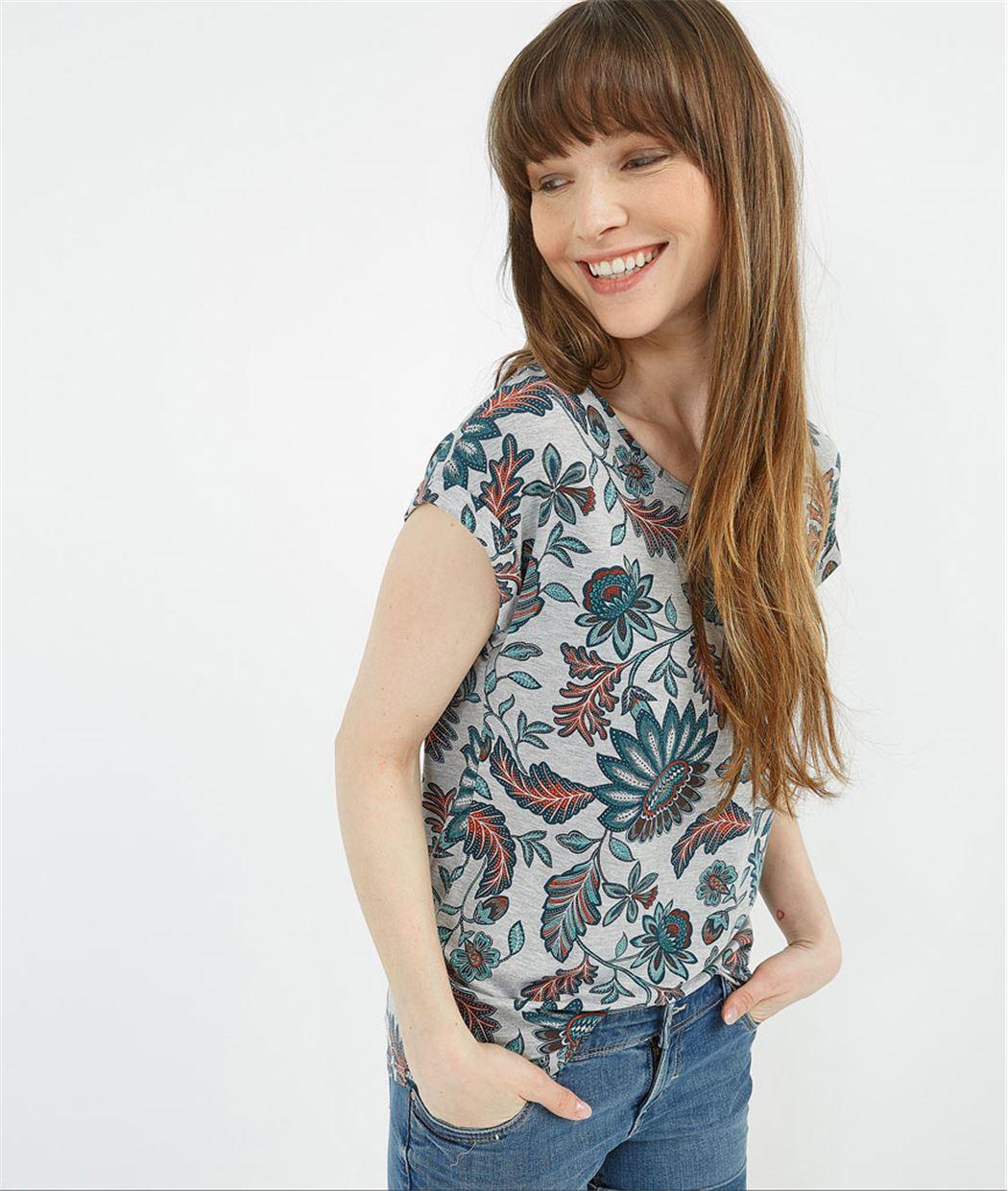 T-shirt imprimé fleuri GRIS