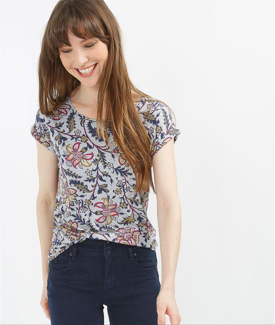 T-shirt femme imprimé fleuri MARINE