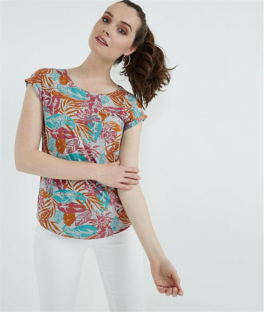 T-shirt femme imprimé fleuri TURQUOISE