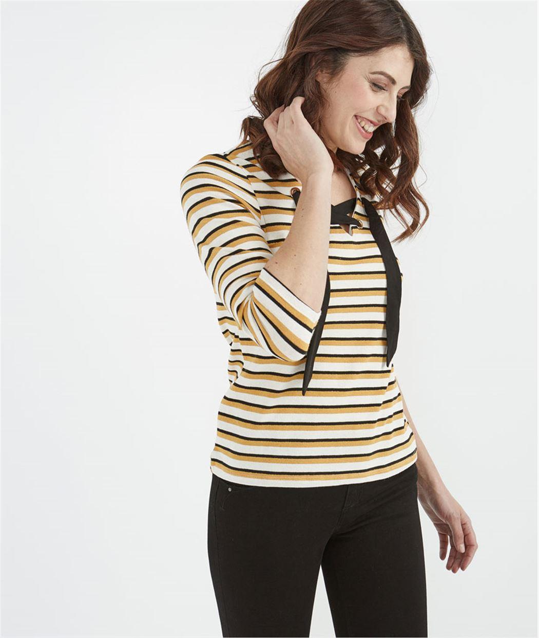 T-shirt femme marinière avec oeillets ECRU