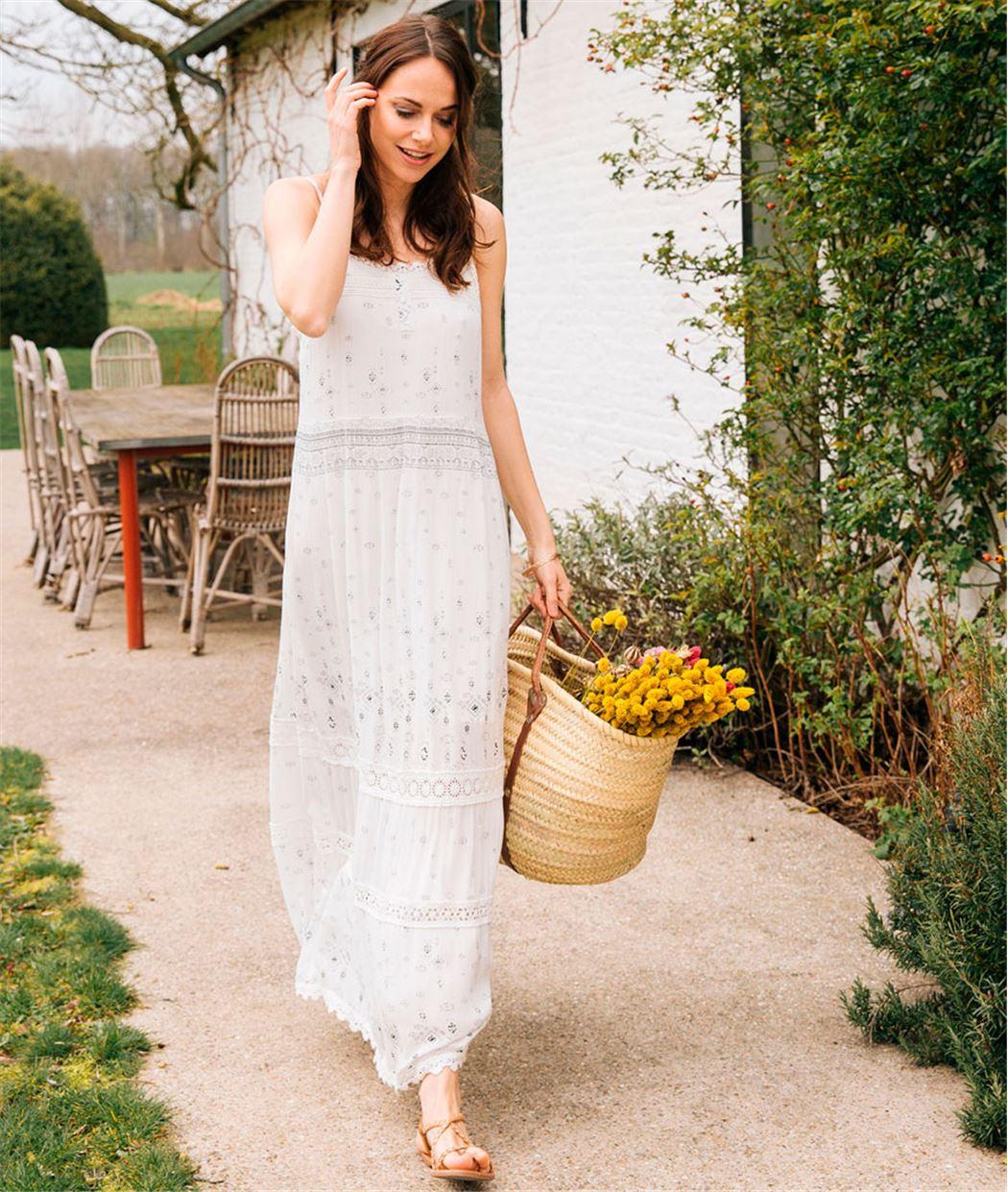 Robe longue blanche imprimée BLANC NON OPTIQUE