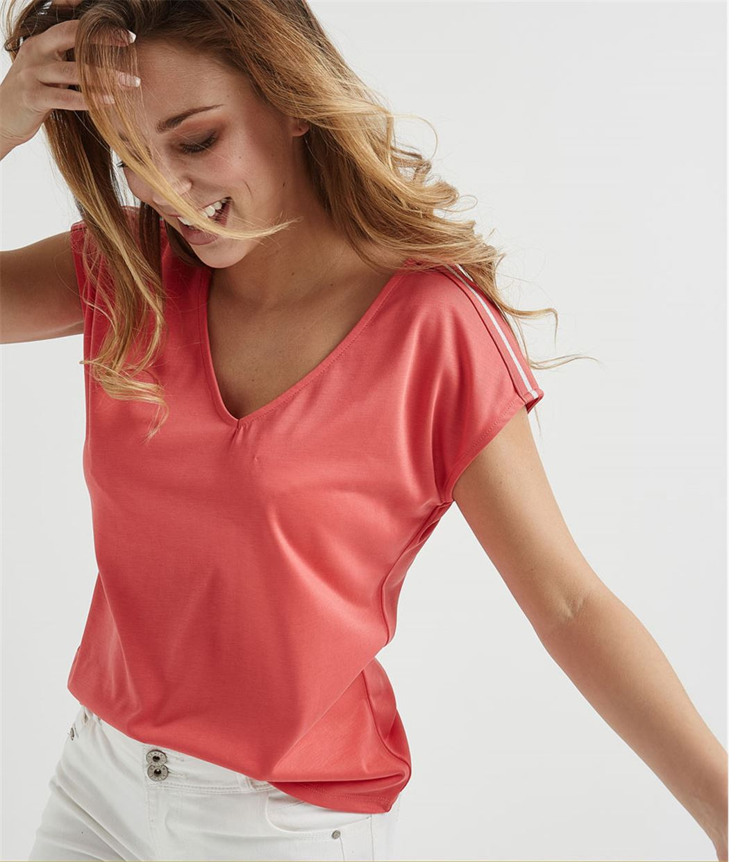 T-shirt femme fluide avec rayures CORAIL