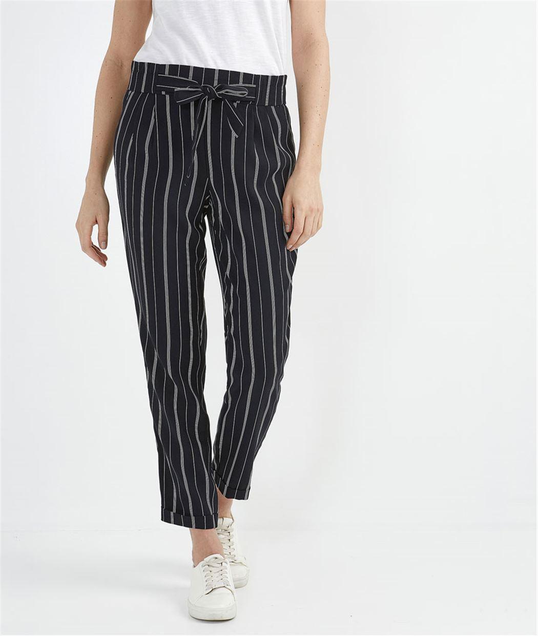 Pantalon femme fluide avec ceinture MARINE