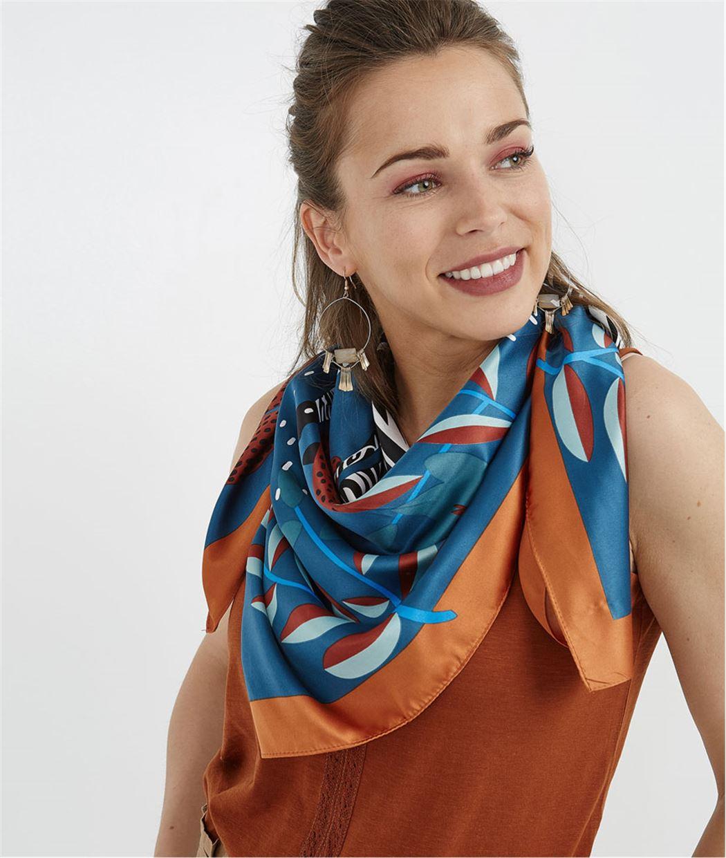 Carré femme imprimé zèbres MULTICOLORE