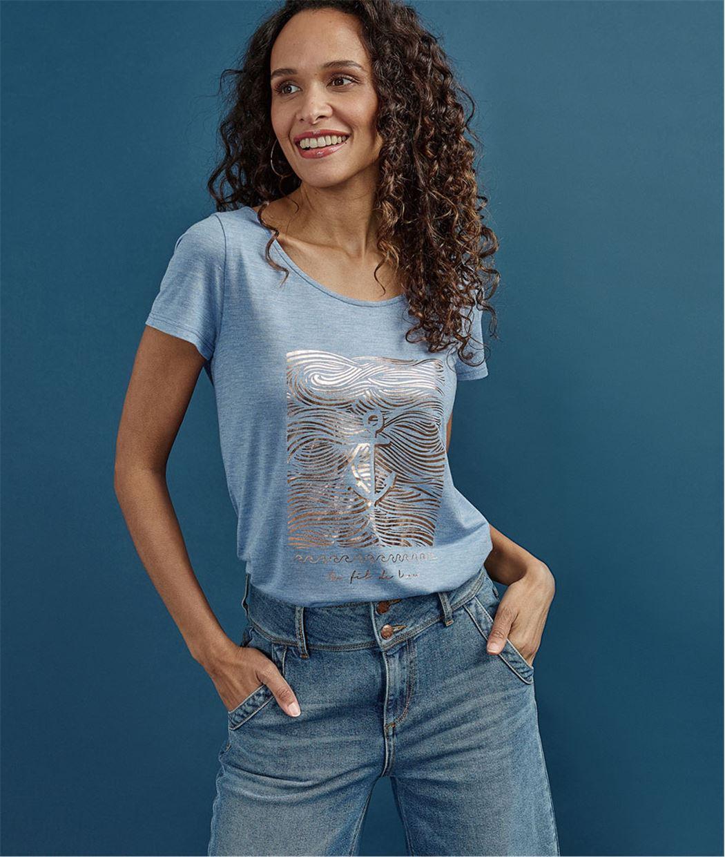 T-shirt femme basique imprimé brillant BLEU