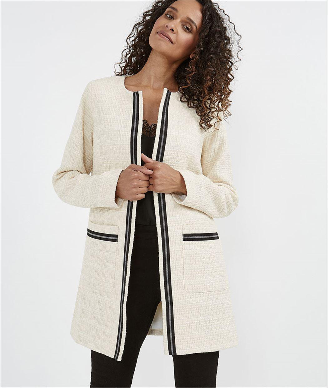Manteau femme habillé noir et blanc ECRU