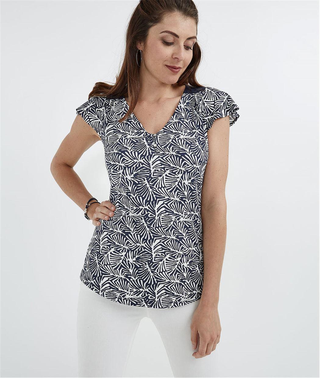 T-shirt avec dentelle MARINE