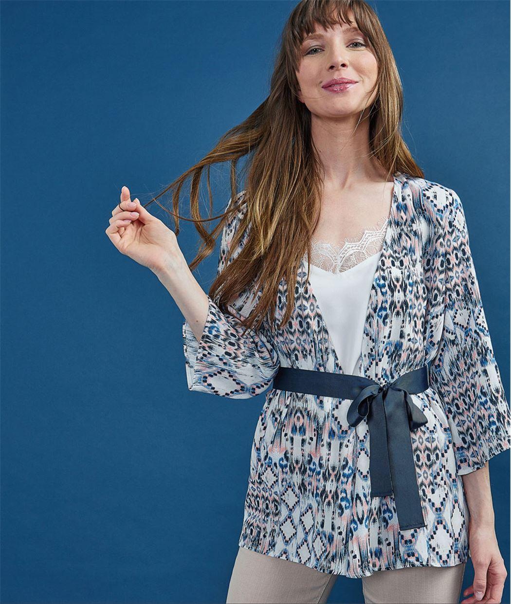 Kimono femme imprimé BLEU