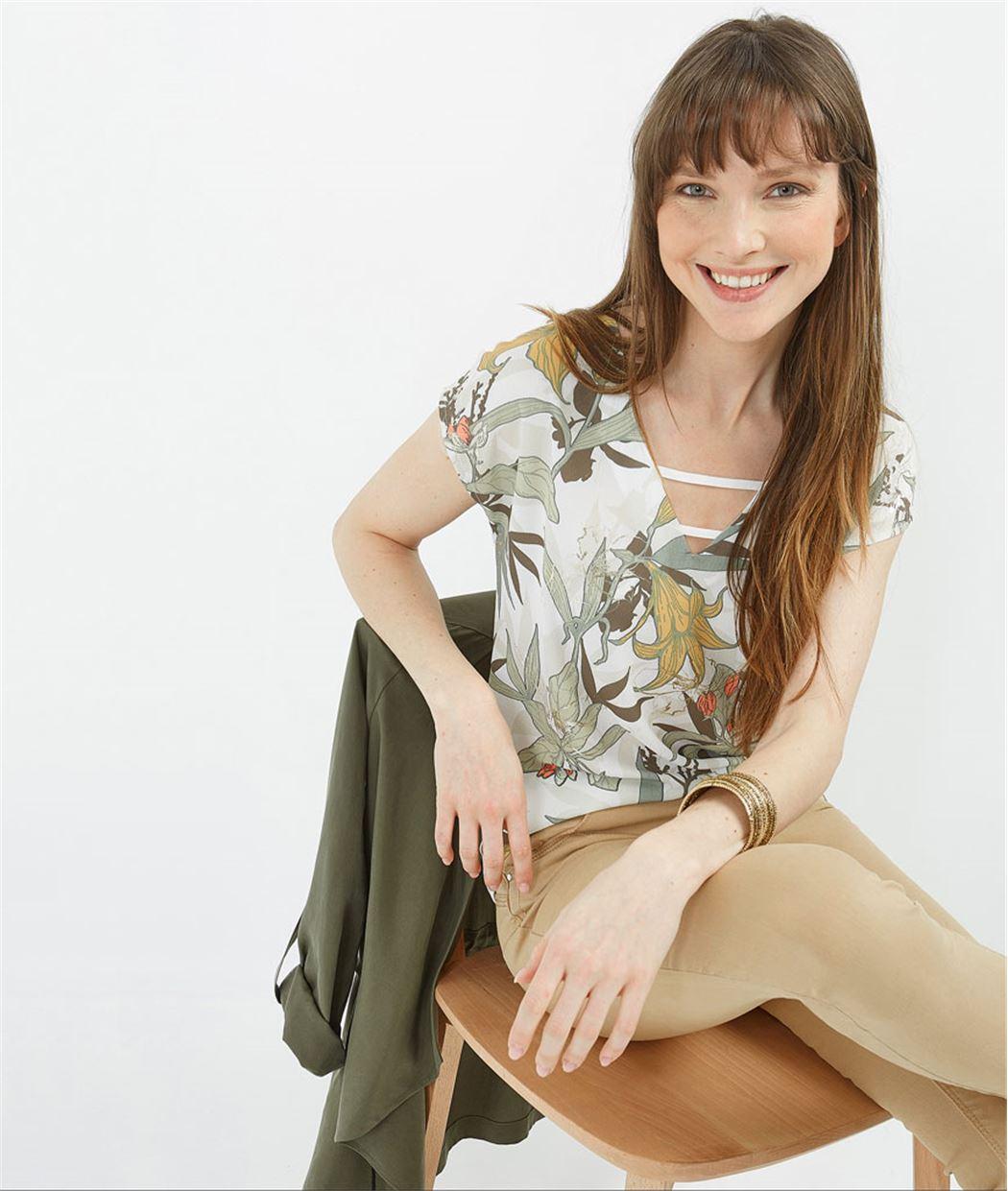 T-shirt femme bimatières imprimé ECRU