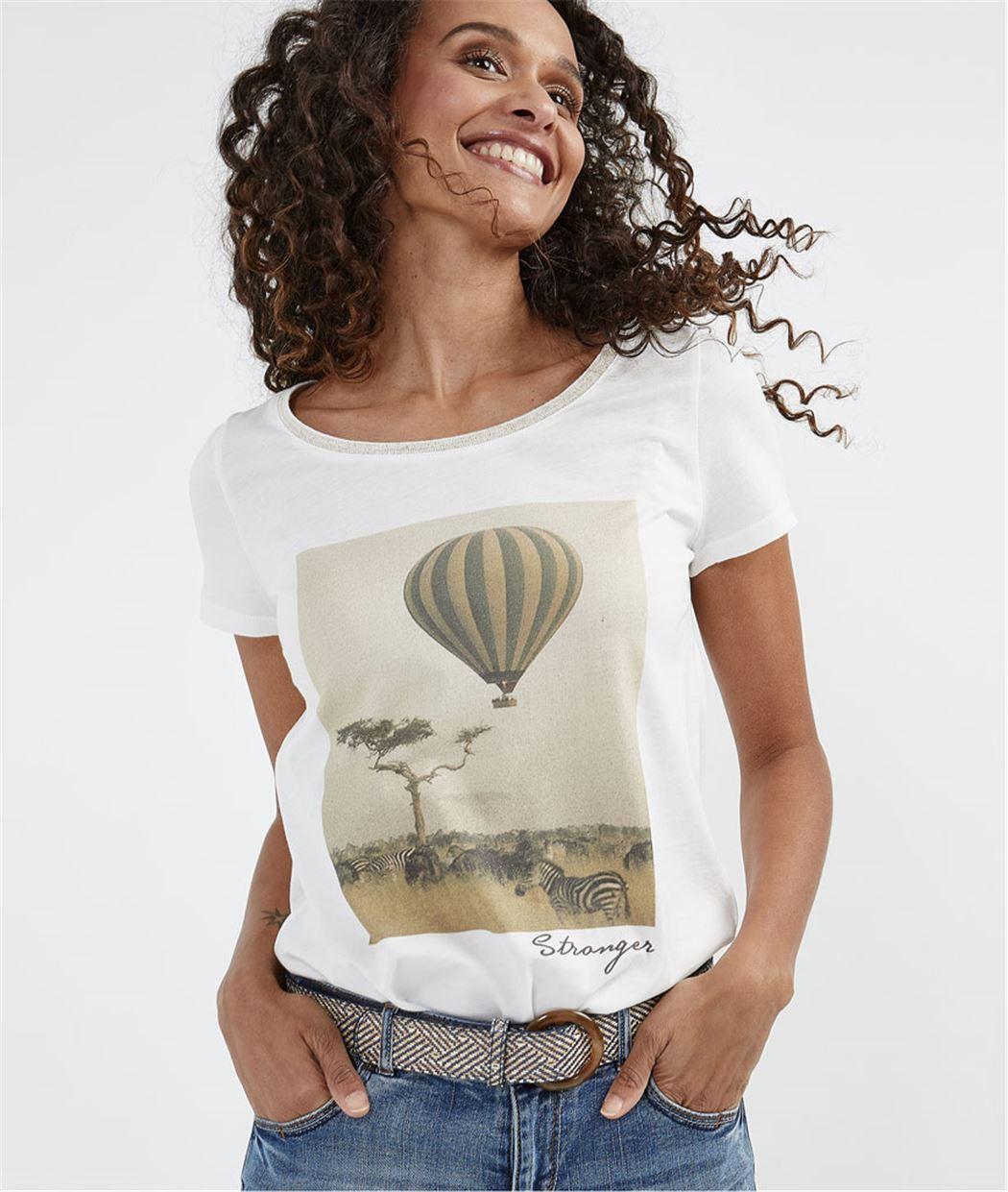 T-shirt femme imprimé photo ECRU