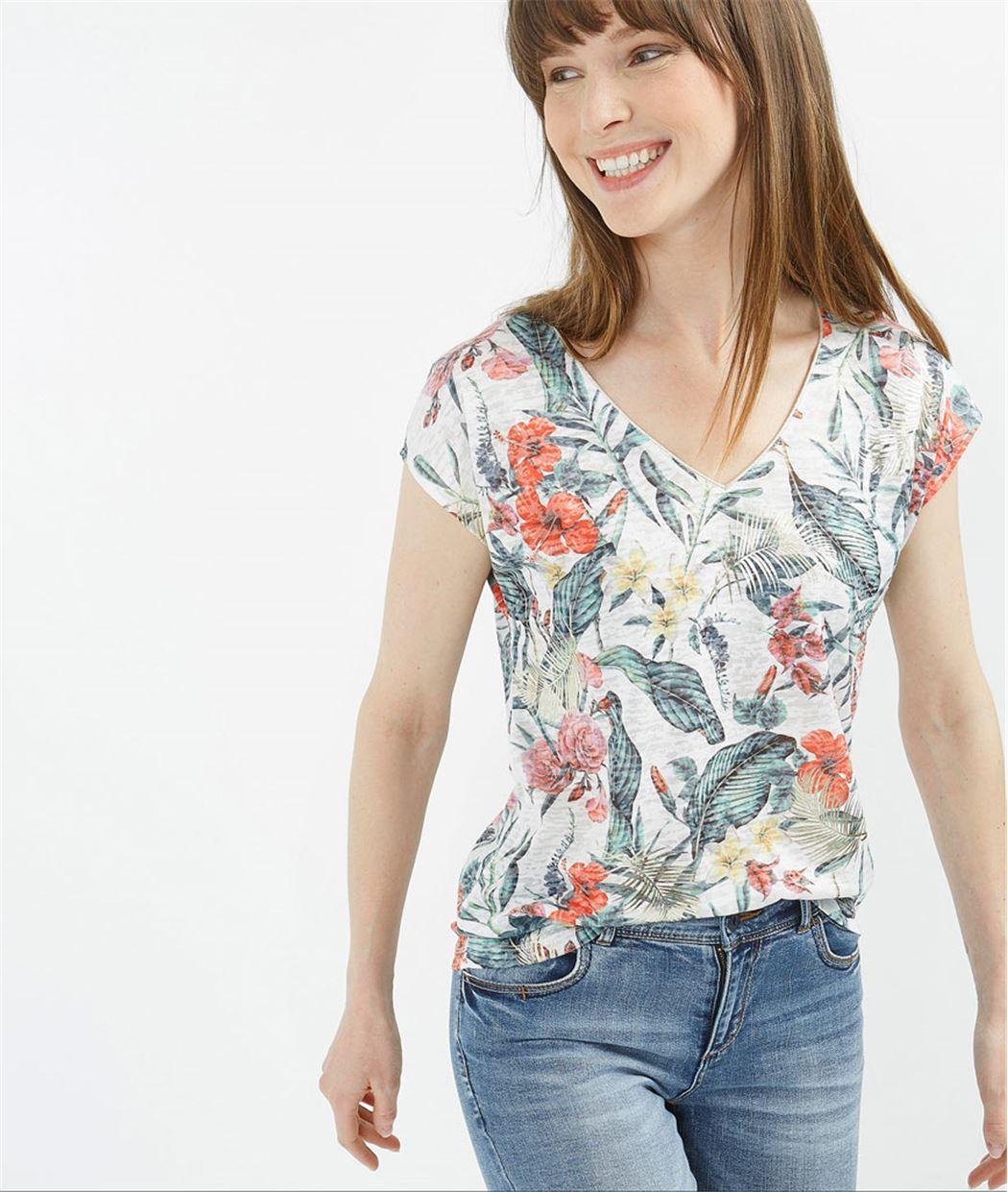 T-shirt femme imprimé feuillages ECRU