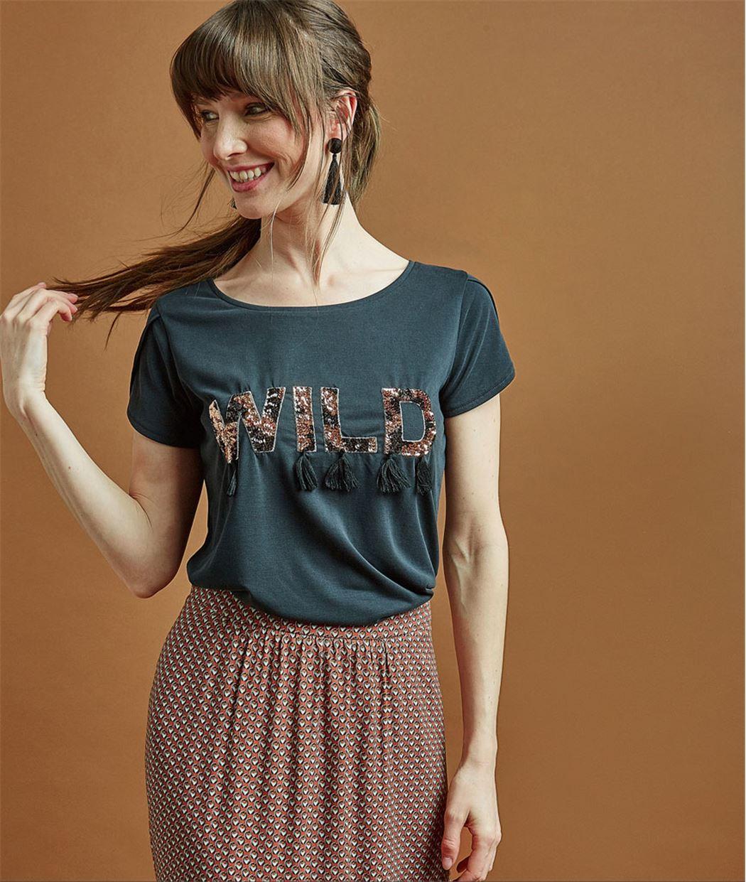 T-shirt femme à message et pompons GRIS