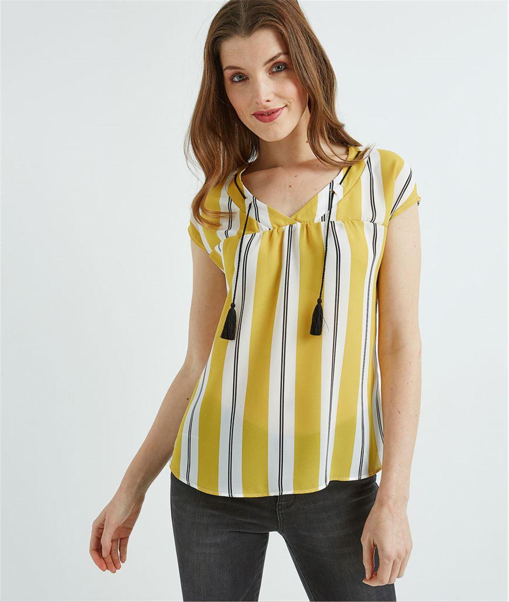 T-shirt femme bimatières rayé safran SAFRAN