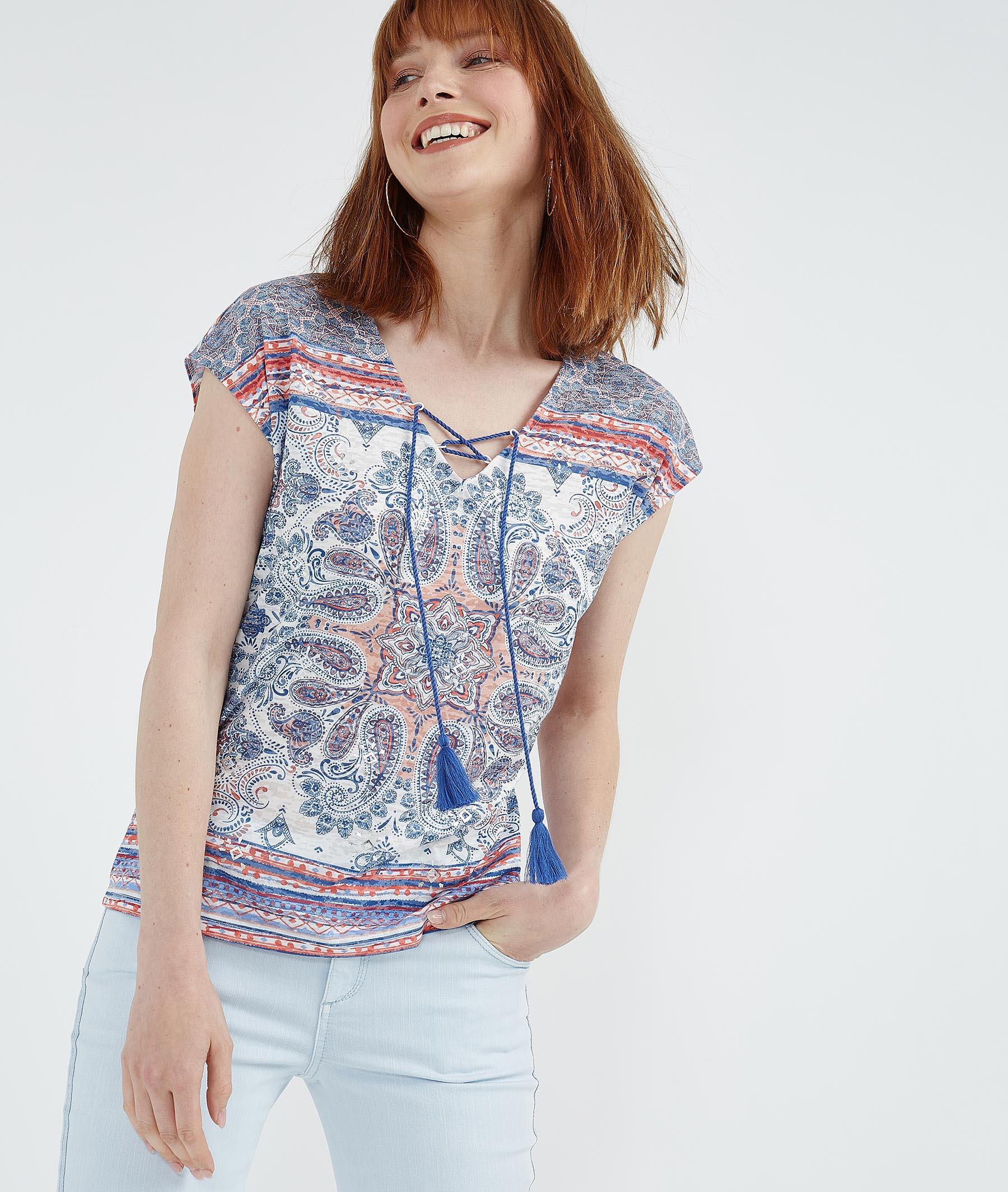 T-shirt avec lacet pompons BLEU