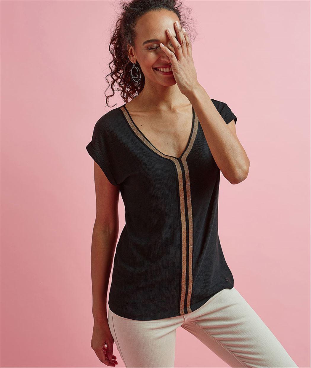T-shirt femme avec rayure brillante NOIR