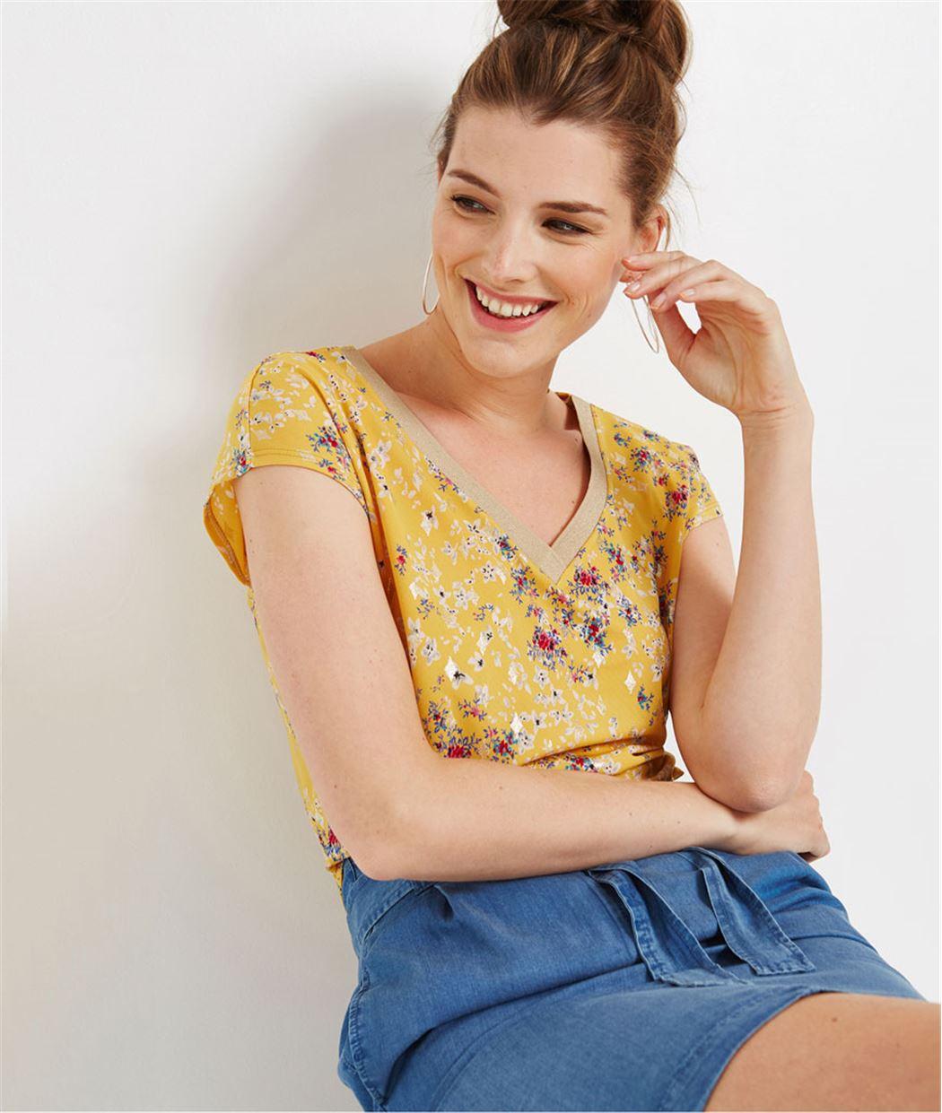 T-shirt femme imprimé fleuri SAFRAN