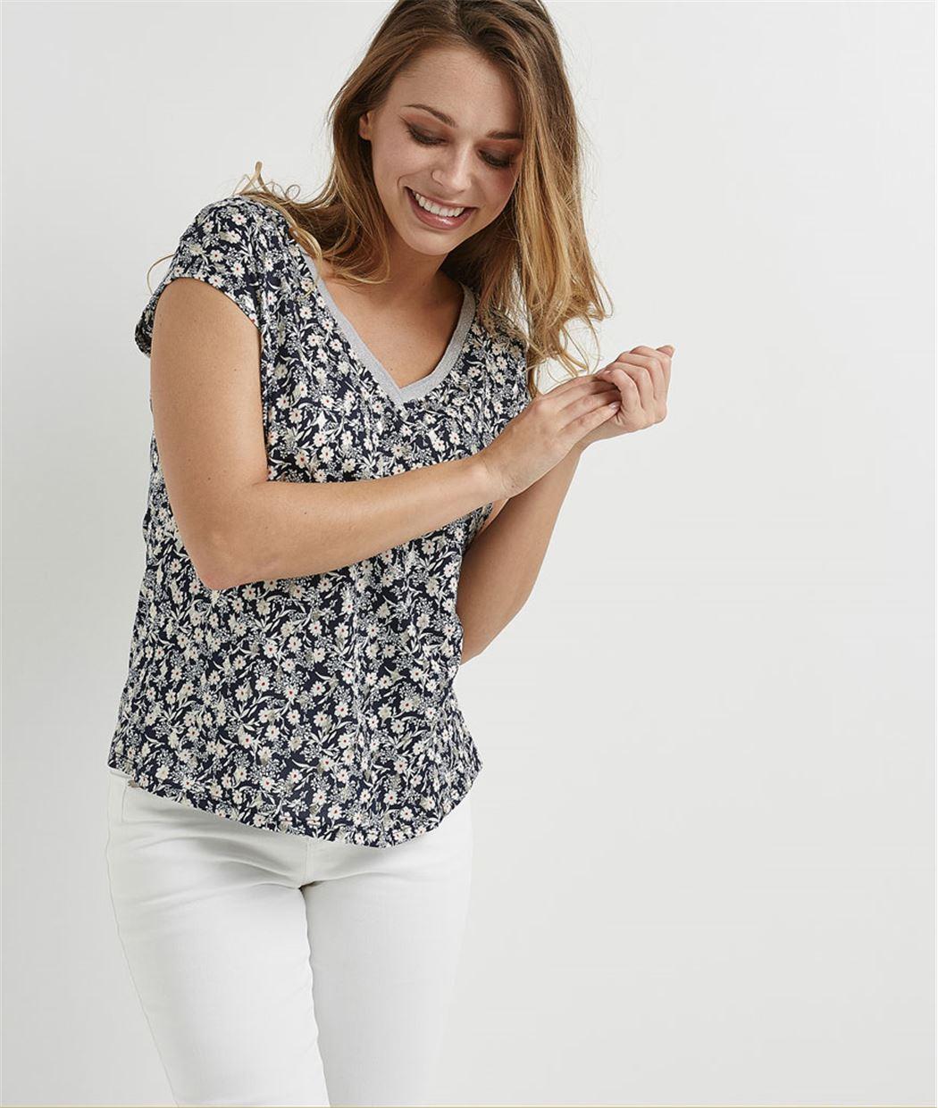 T-shirt imprimé fleuri MARINE