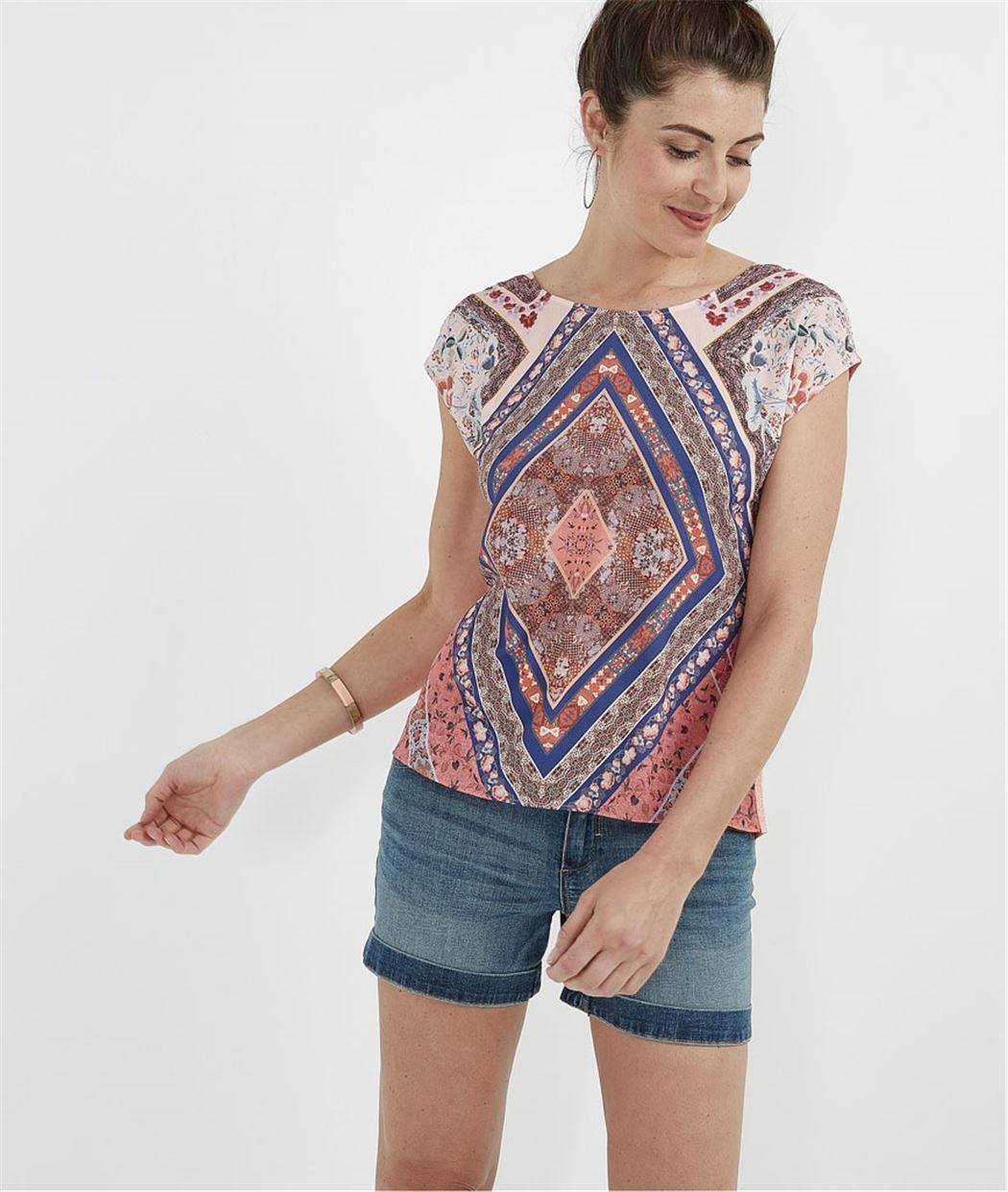T-shirt bimatières imprimé CORAIL