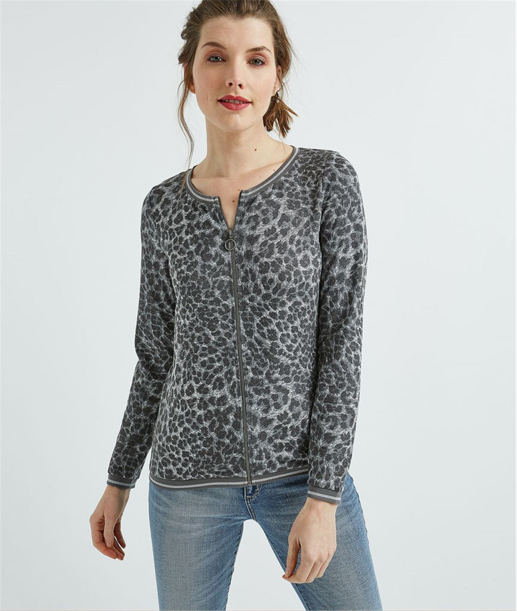 Gilet femme imprimé léopard zippé GRIS