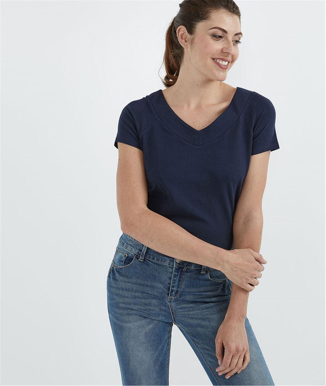 T-shirt femme basique manches courtes MARINE