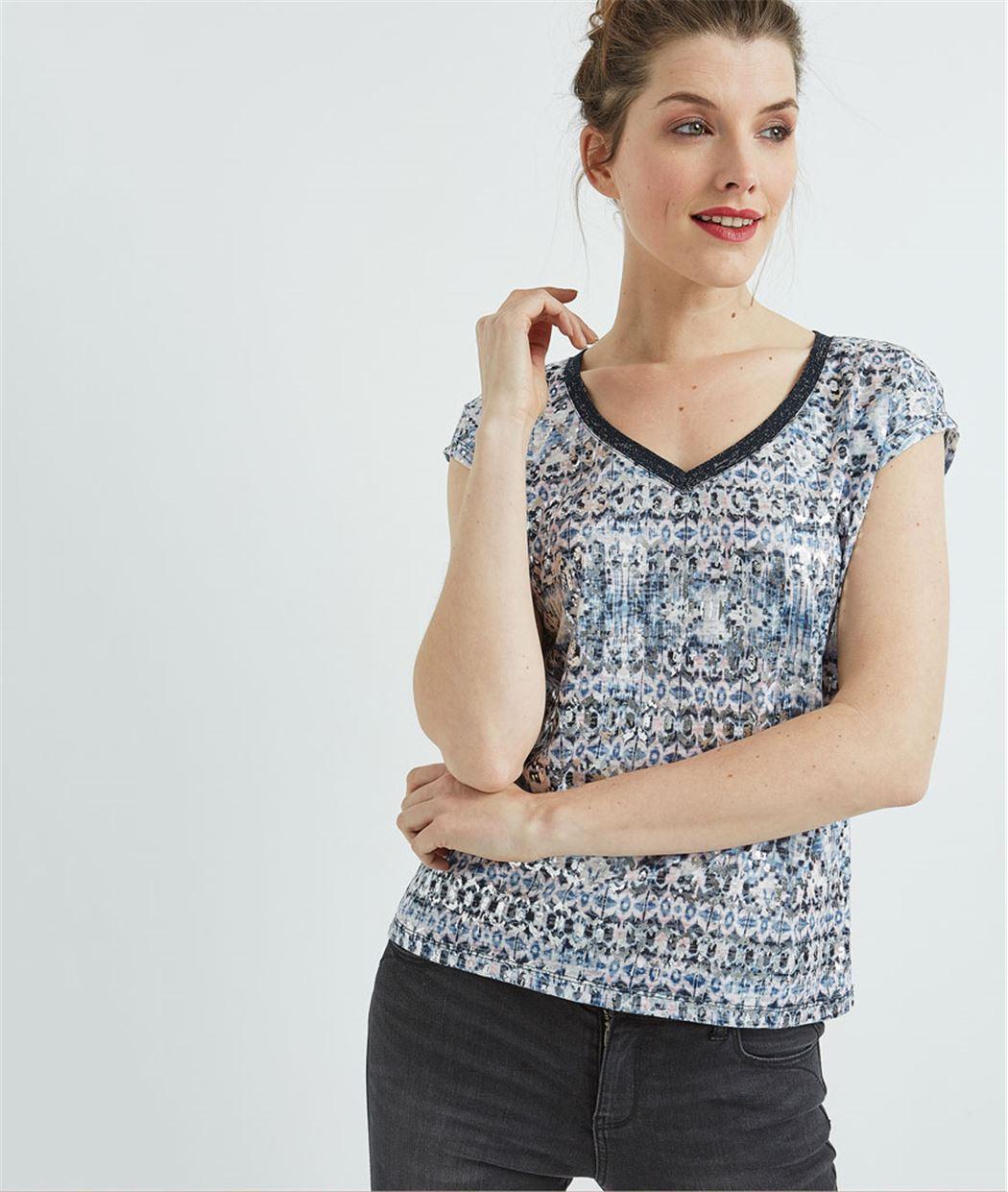T-shirt femme imprimé bleu ECRU