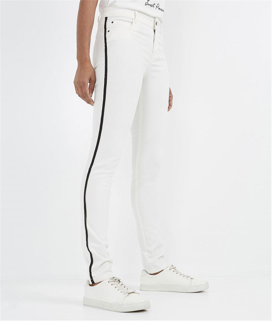 Pantalon écru push up avec bande côté ECRU