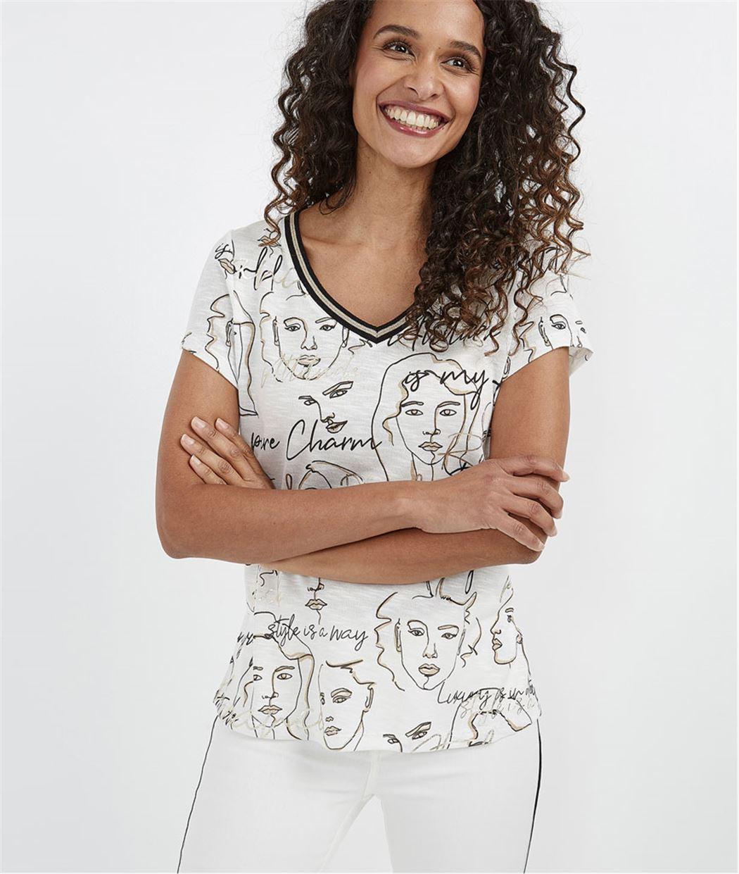 T-shirt femme imprimé visages ECRU