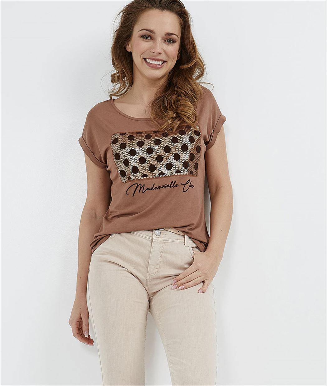 T-shirt à pois avec sequins CARAMEL