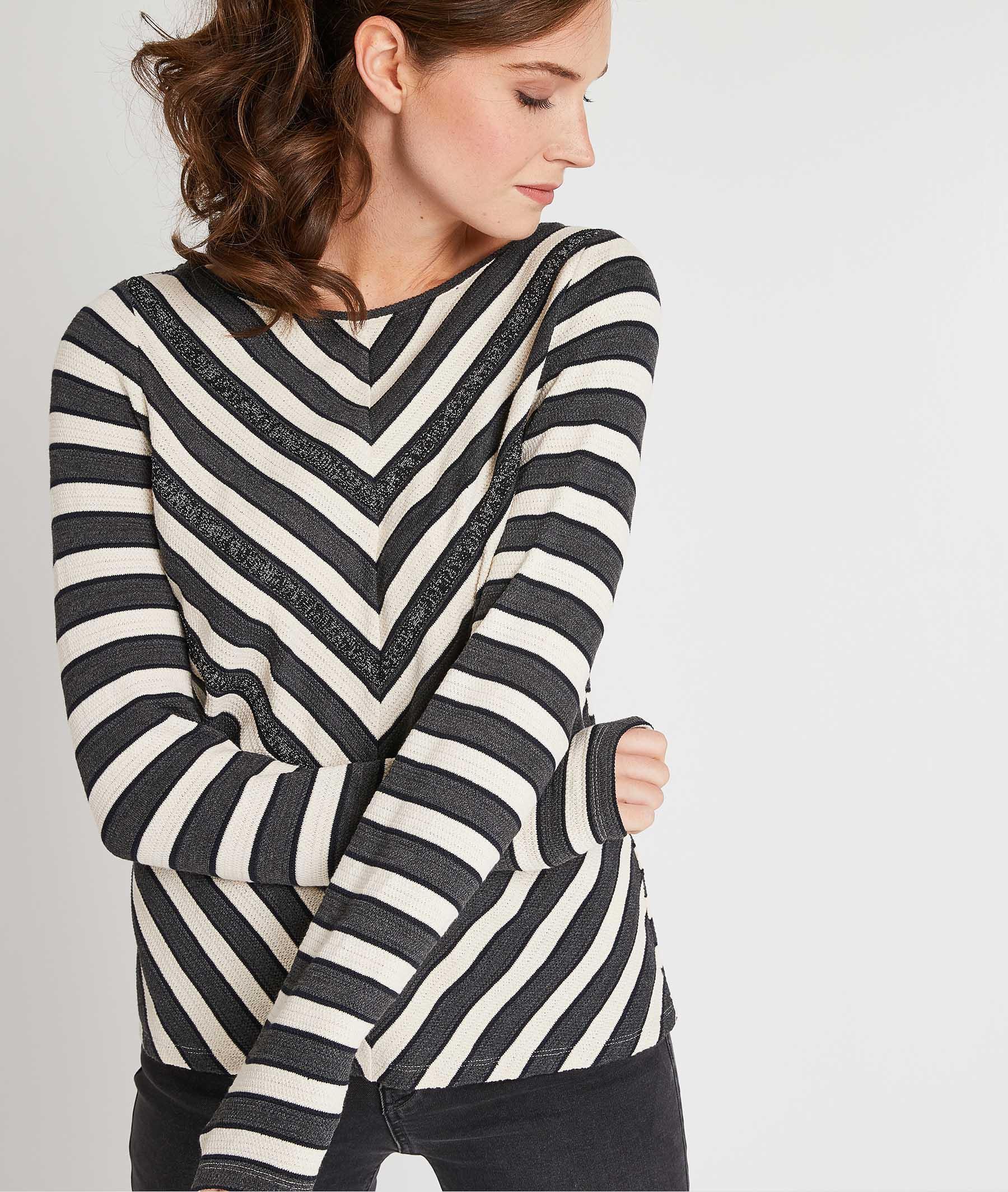 Pull en tricot bicolore BLEU