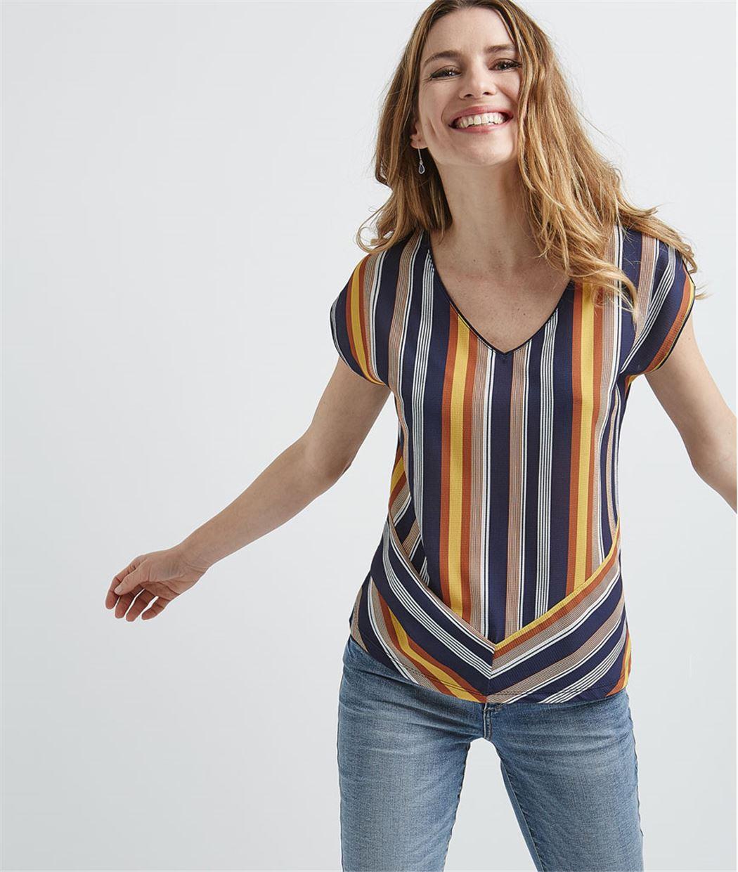 T-shirt femme rayé et coloré MARINE